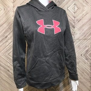 under armour youth girl XL PINK GRAY hoodie